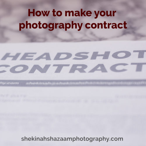How to make your Photography Contract